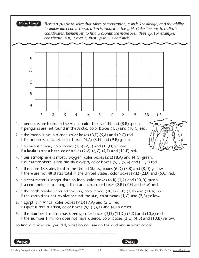 Following Directions Worksheets For Middle School Students In