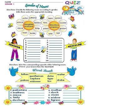Formidable Grammar Gender Worksheets For Grade 1 With Additional