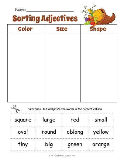 Formidable Worksheets On Color Adjectives With Cornucopia