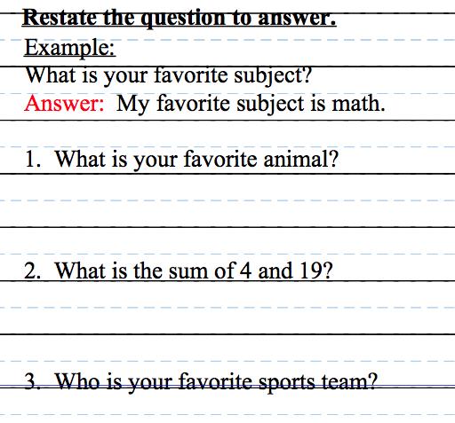 Fourth Grade Flipper  Workshop Wednesday (restate The Question