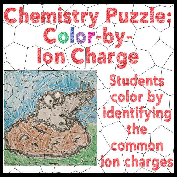 Free Chemistry Puzzle  Color By Ion Charge! Students Color By