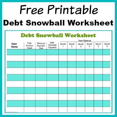 Free Printable Debt Snowball Worksheet