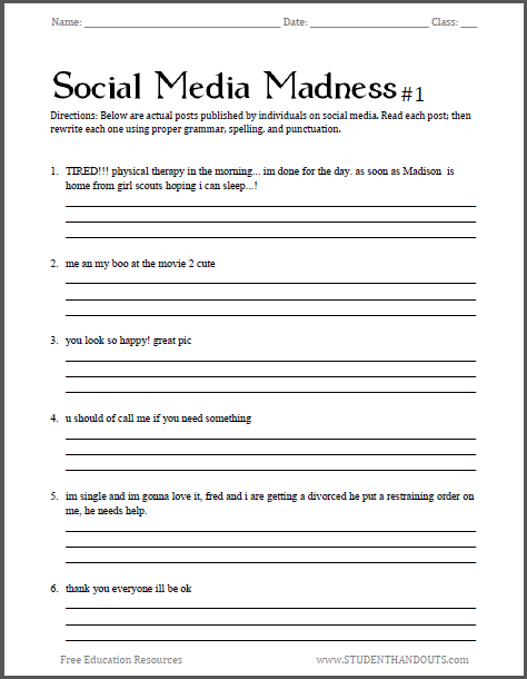 Free Printable Grammar Worksheets For Middle School Students