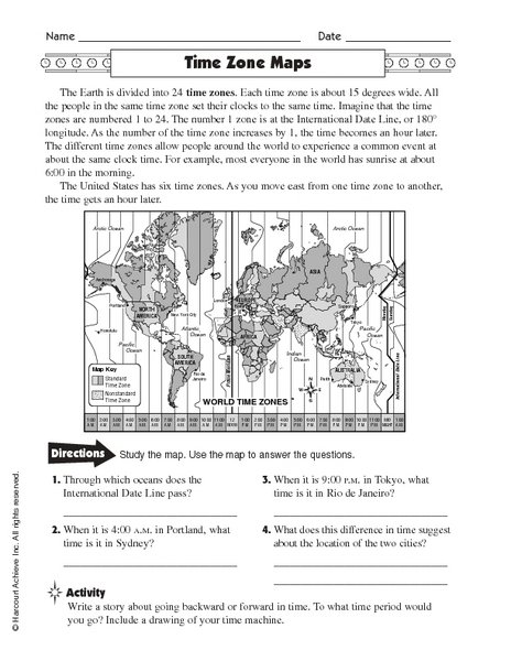 Free Worksheets Time Zones
