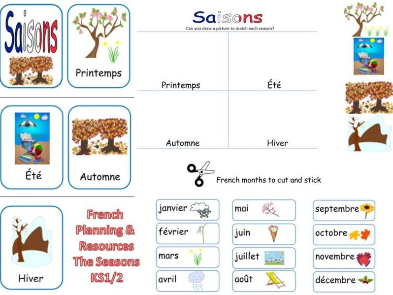 French Seasons Lesson And Resources Ks1 2 By Mrspomme