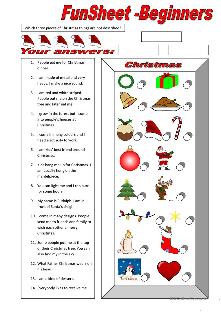 Fun Christmas Worksheets Worksheets For All