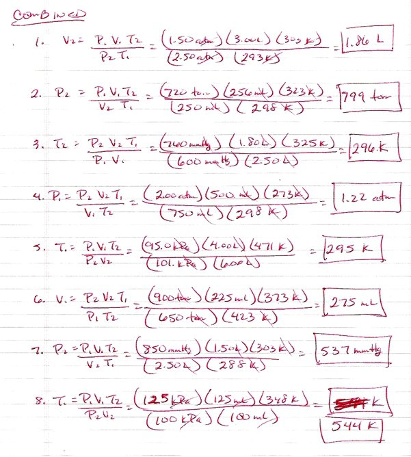Gas Laws Worksheet Answers Worksheets For All
