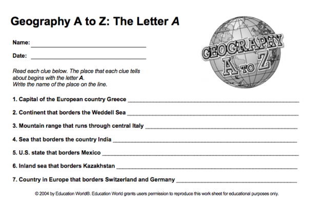 Geography A To Z — Free Printable Worksheets
