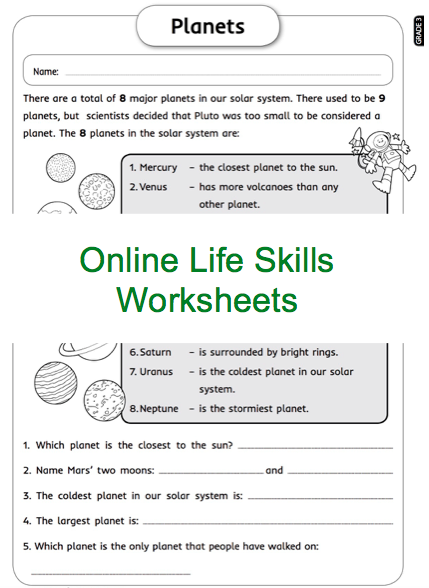 Grade 3 Online Life Skills Worksheets, Planets, Space  For More