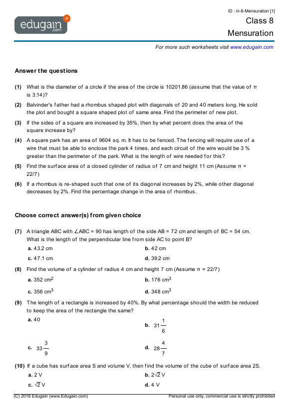 Grade 8 Math Worksheets And Problems  Mensuration