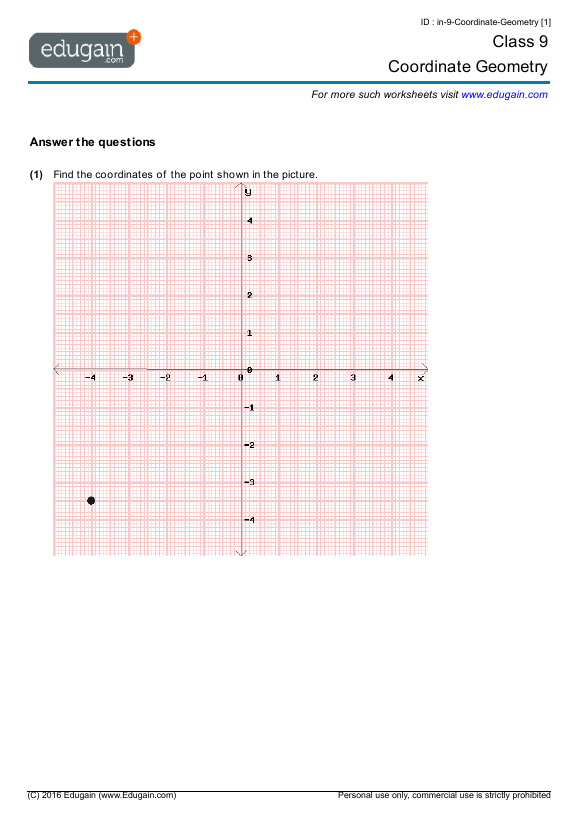 Grade 9 Math Worksheets And Problems  Coordinate Geometry