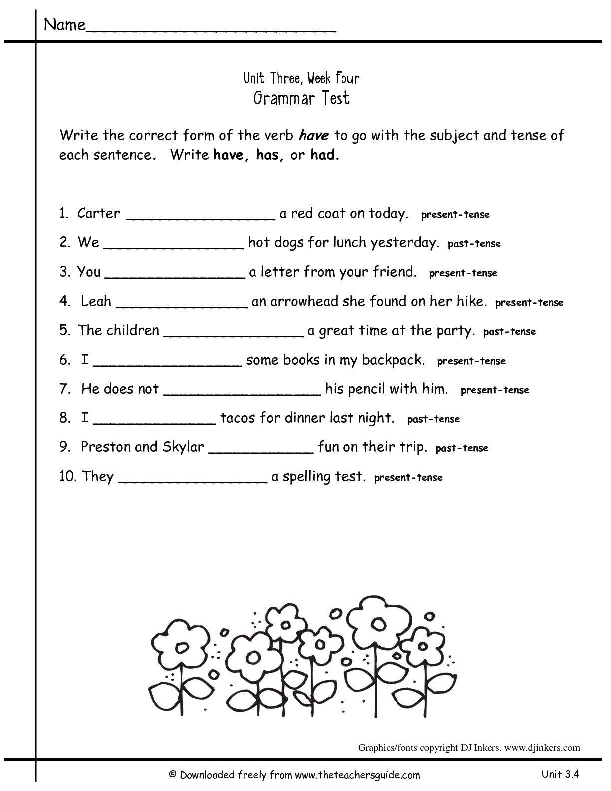Grammar Worksheet 2nd Grade The Best Worksheets Image Collection