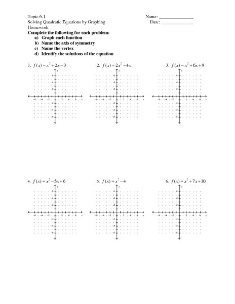 Graph Quadratic Equations Worksheet Worksheets For All