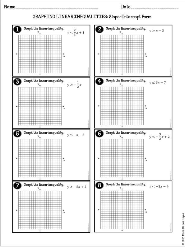 Graphing Linear Inequalities Practice
