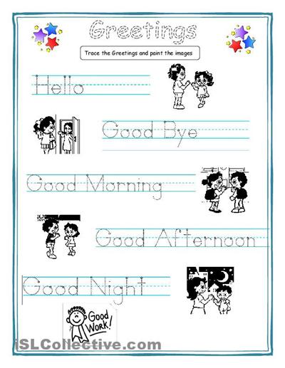 Greetings Worksheets For Kids