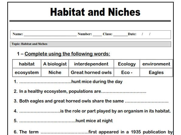 Habitat And Niches  Worksheet  By Abubakrshalaby