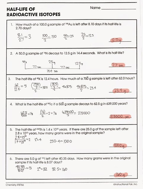 Half Life Practice Worksheet Answers Half Life Calculations