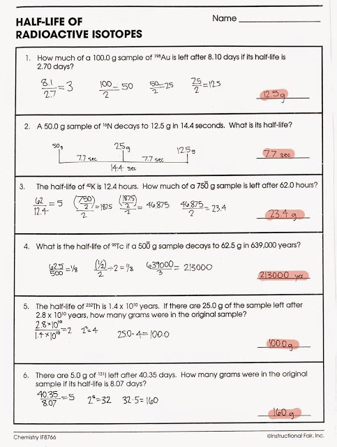 Half Life Worksheets With Answers Worksheets For All