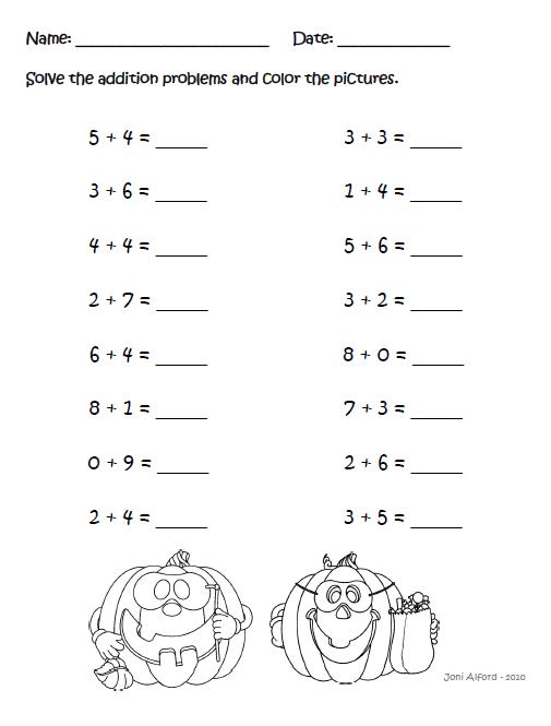 Halloween Addition Worksheet Halloween Worksheets First Grade
