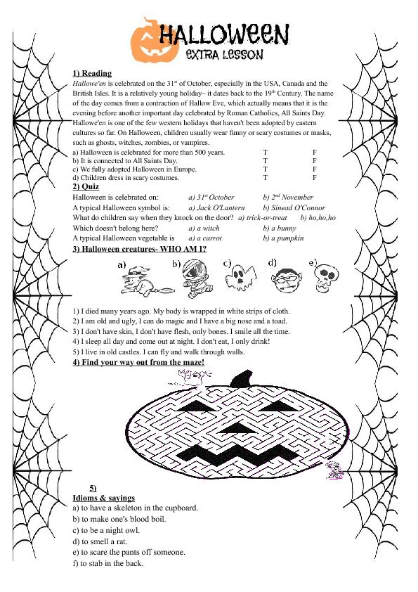 Halloween Comprehension Activities