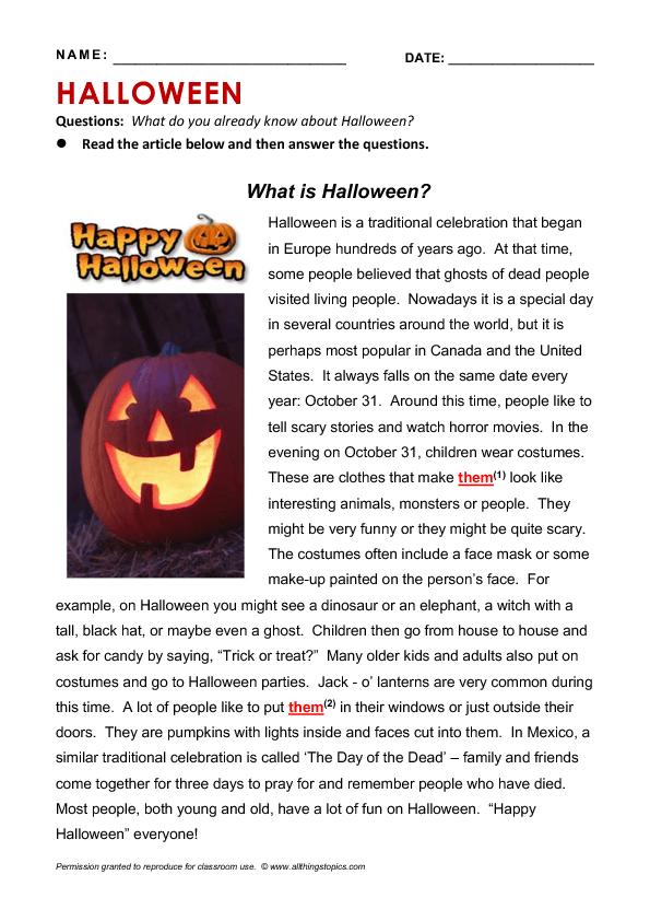 Halloween Reading Activities 214 Free Halloween Worksheets