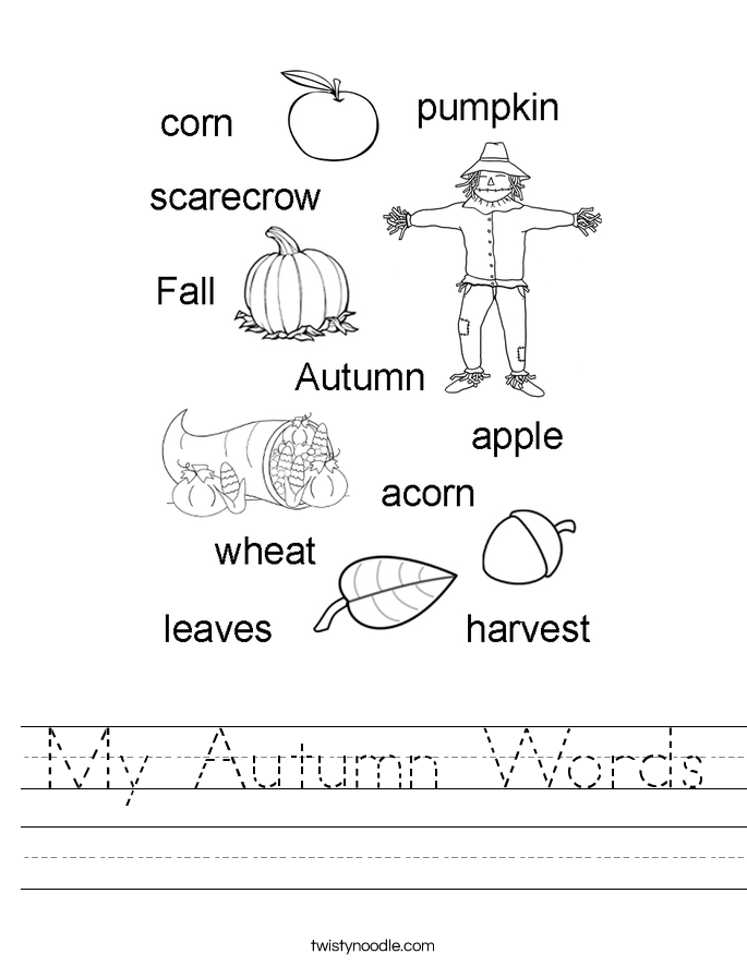 Harvest Worksheet Year 1