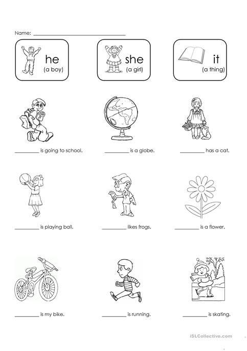 He, She, Or It  Worksheet
