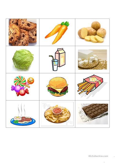 Healthy And Junk Food Worksheet