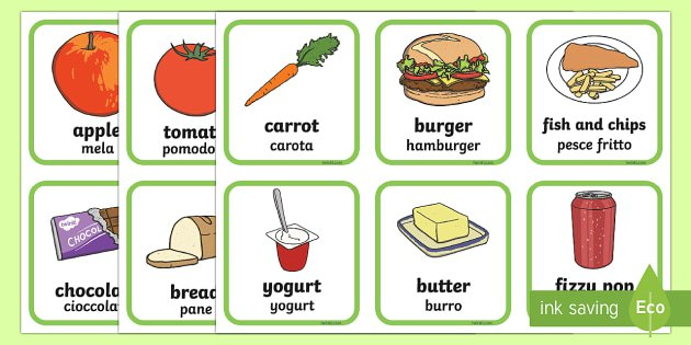 Healthy And Unhealthy Foods Sorting Activity English Italian