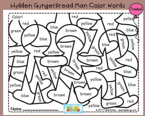 Hidden Gingerbread Man Color Words Freebie!
