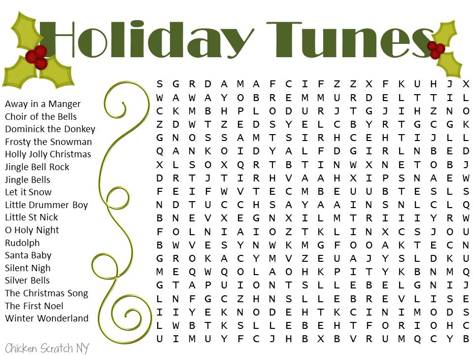 Holiday Word Search Printable Christmas Wordsearch