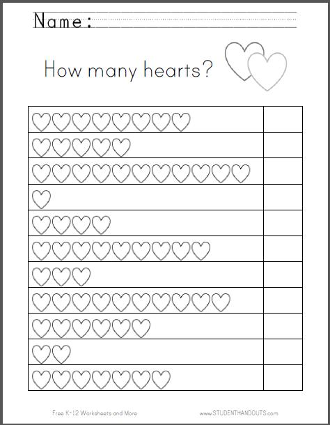 How Many Hearts  Counting Worksheet For Preschool Kindergarten