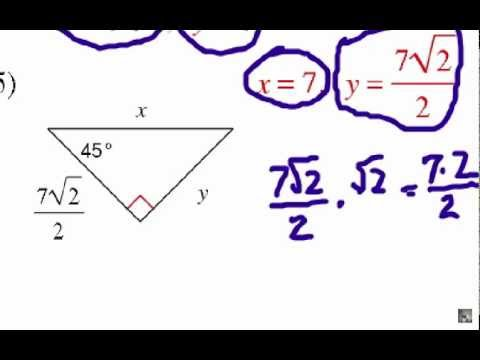 How To Solve Special Right Triangles  Problem Set  1