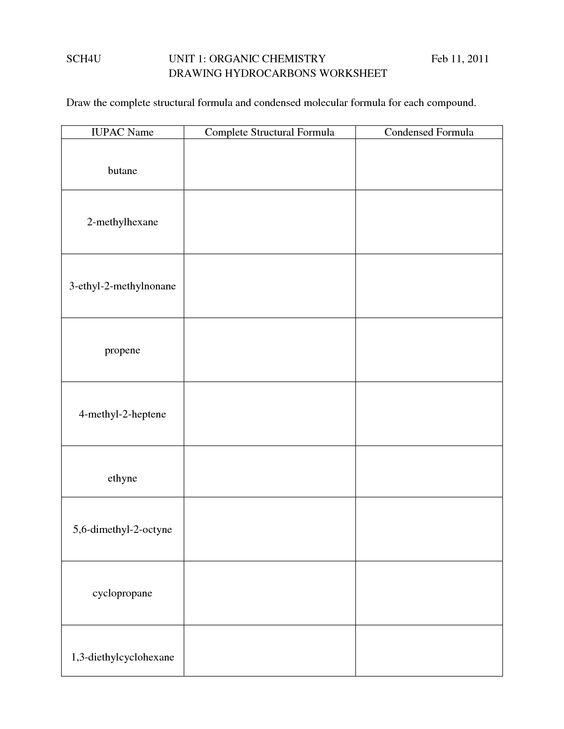Hydrocarbons Worksheet