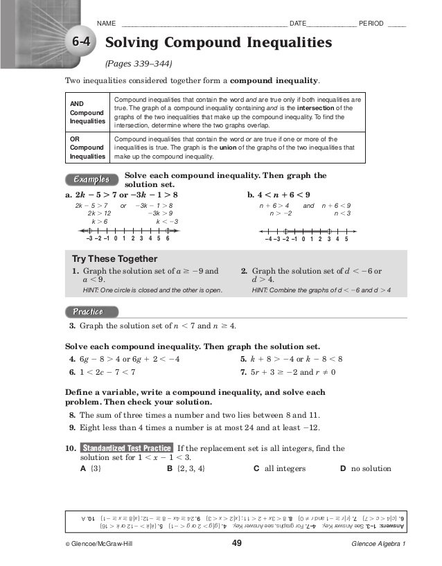 Ideas Collection Glencoe Mcgraw Hill Algebra 1 Answers Worksheets