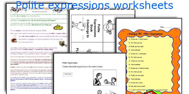 Ideas Collection Polite Expressions Worksheets For Kids For Your