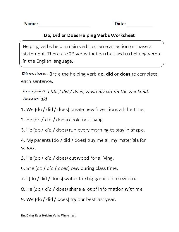 Ideas Of Helping Verb Worksheets On Worksheet