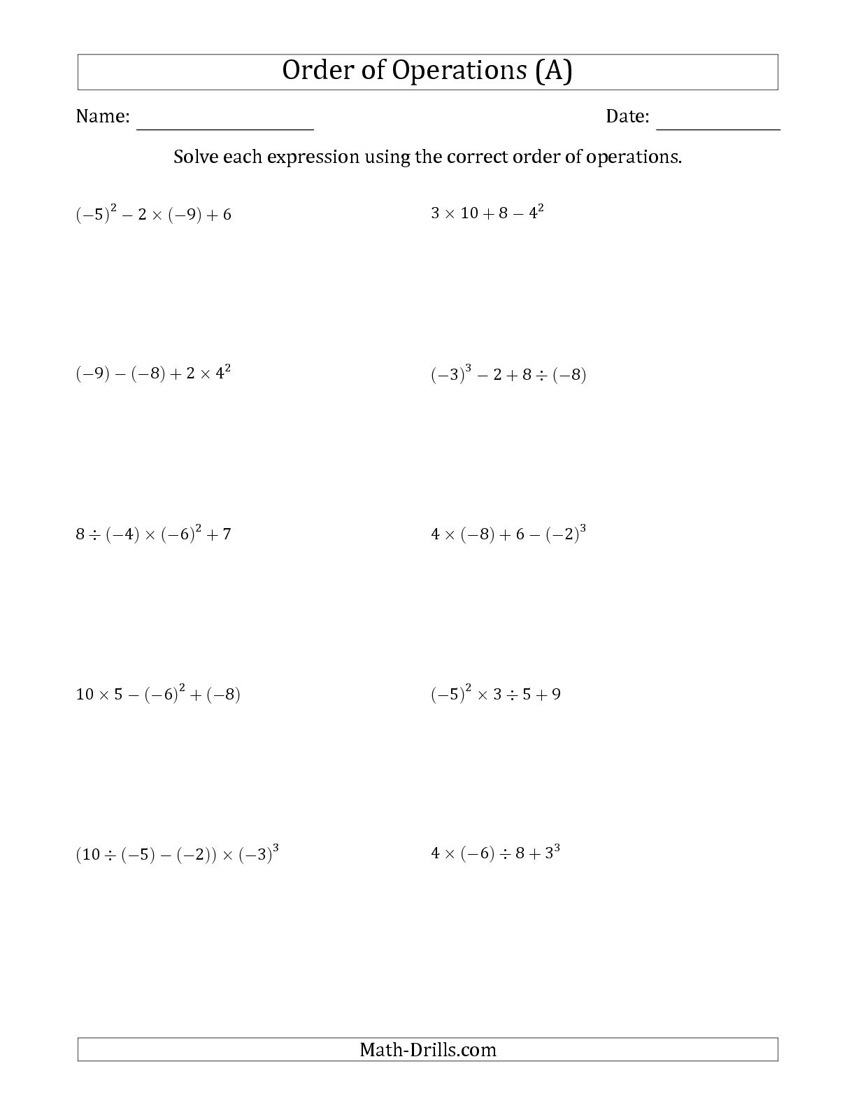 Ideas Of Pemdas Integers Worksheets For Your Reference