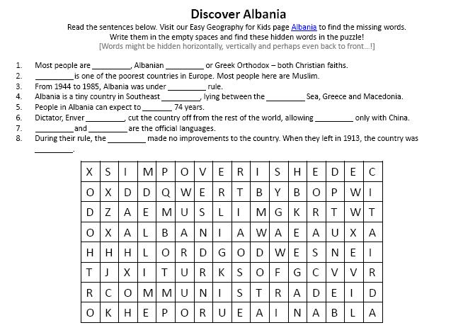 Image Of Albania Worksheet