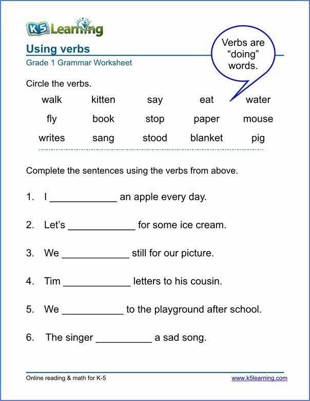 Image Result For Worksheet For Grade 1 English Language