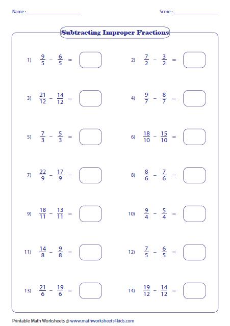 Improper Fraction Subtraction  Same Denominators
