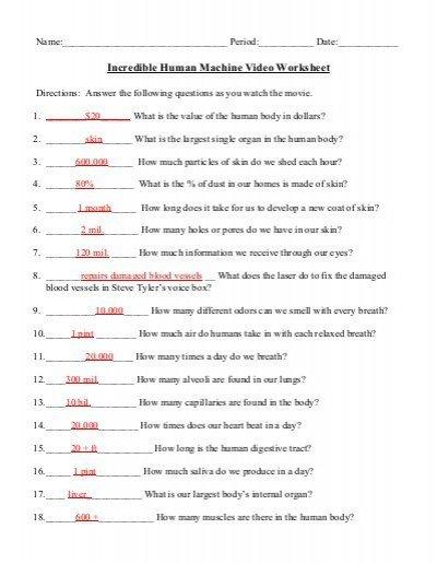 Incredible Human Machine Worksheets Answers