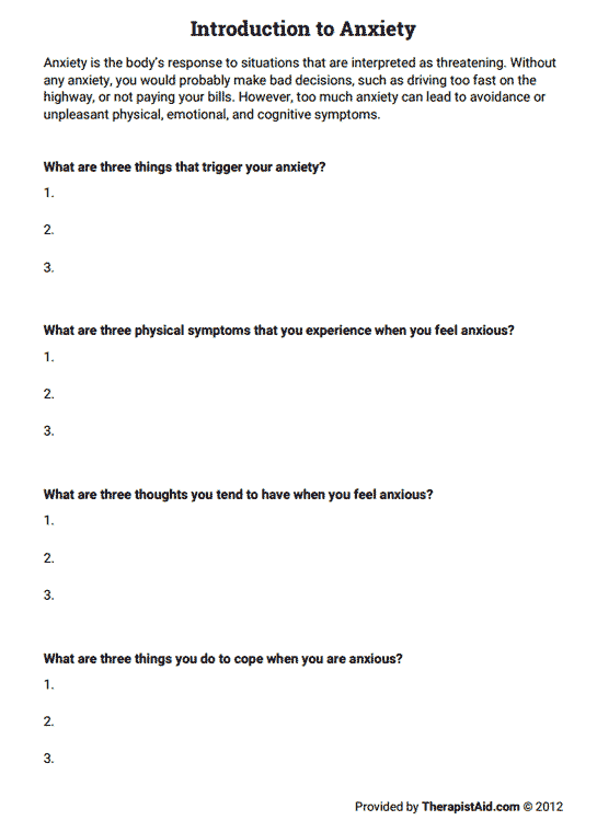 Introduction To Anxiety (worksheet)