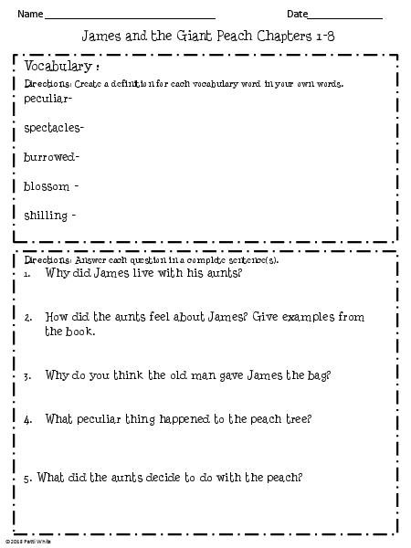 James And The Giant Peach Worksheets Worksheets For All