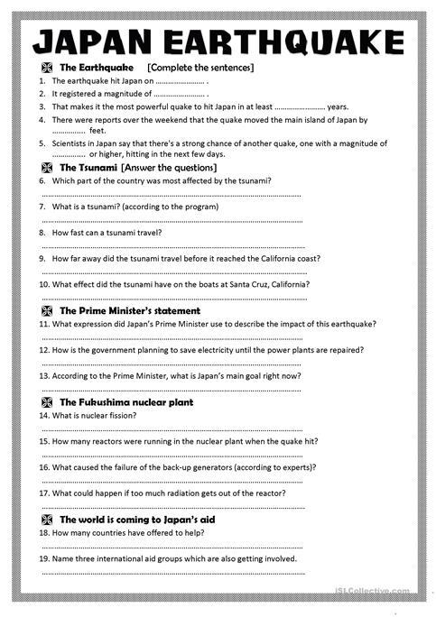 Japan Earthquake (a Video Activity) Worksheet