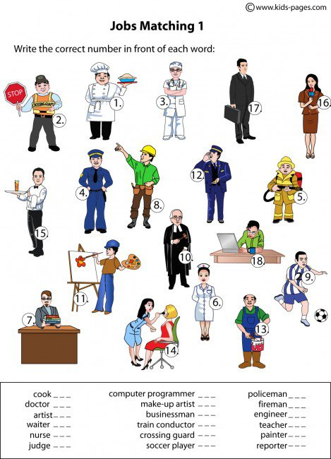 Jobs Matching 1 Worksheet