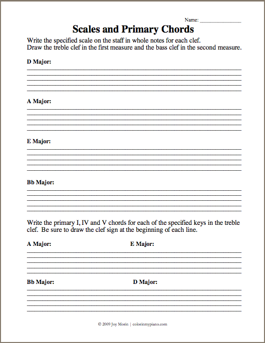 Just Added  Scales & Primary Chords 2 (daebb) Worksheet