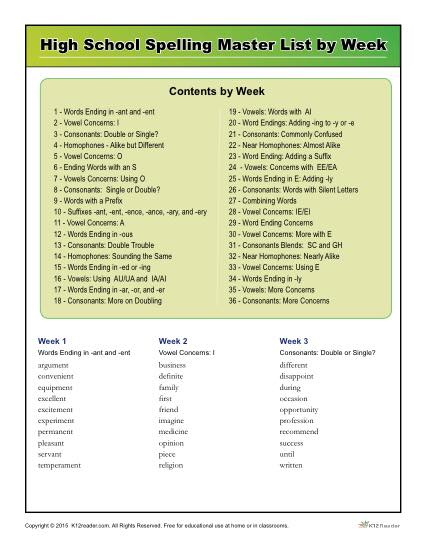 K12reader High School Spelling Words Master List By Week