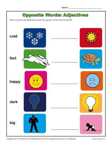 Kindergarten Antonym Worksheet