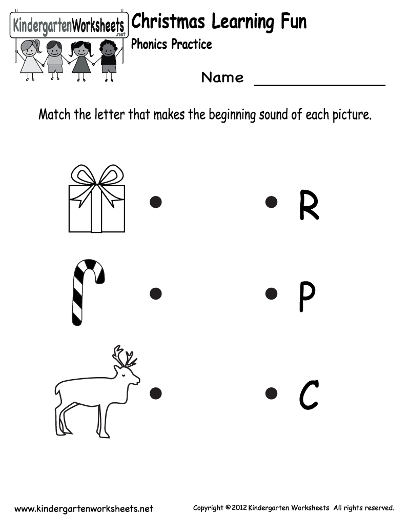 Kindergarten Christmas Phonics Worksheet Printable Jax School Free